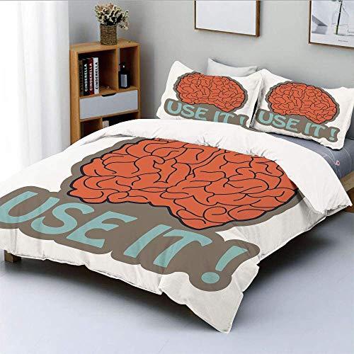 Qoqon Bettbezug-Set, Got Brain Use It Abstrakte menschliche Intelligenz Anatomie Cerebrum Cortex Grafik DekorativDekorativ 3-teiliges Bettwäscheset mit 2 Kissen Sham, Taupe Vermilion, Best Gi