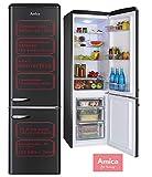 Amica Retro Kühl-Gefrierkombination Mattschwarz 244L automat Abtauen Kühlschrank KGCR 387 100 MS