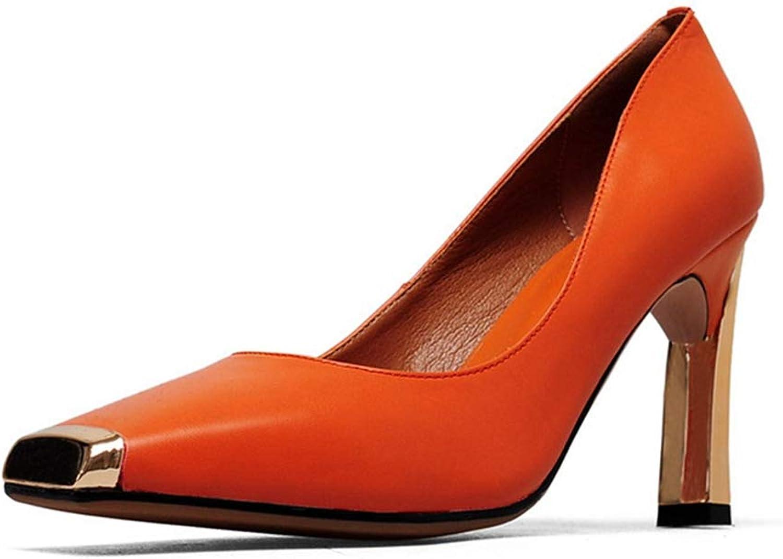 Women Single shoes Metal Toe Square Heel Sandal Fashion High Heel Office Ladies Slip on Sandals Pump
