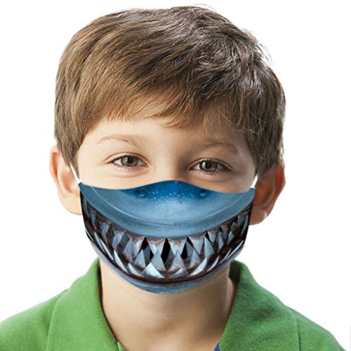 Zhousir Funny Face Covers, Shark Mouth, Reusable, Face Bandanas, for Childs Air Filter Face Bandanas Boys Girls, Washable Face Cover, Novelty Face Covering for Kids, for Outdoor Cycling Ski Warm