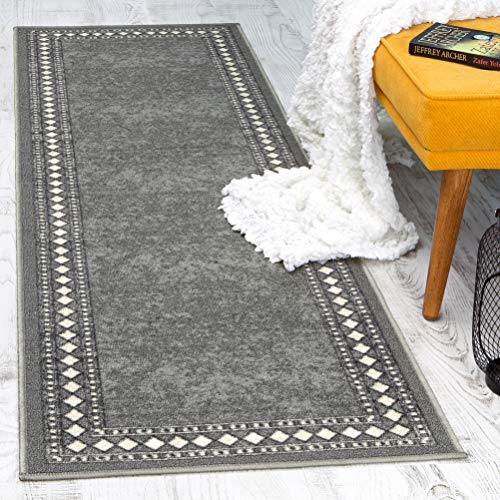 Antep Rugs Alfombras Modern Bordered 2x7 Non-Skid (Non-Slip) Low Profile Pile Rubber Backing Indoor Area Runner Rugs (Gray, 2' x 7')