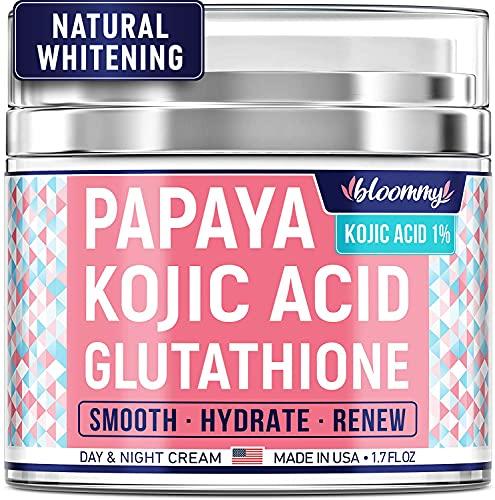 Bloommy Papaya Dark Spot Corrector - Best Kojic Acid Cream - Made in USA - Skin Nourishing & Resurfacing Fade Cream Infused with Natural Glutathione that Moisturizes, Smooths, Refreshes - 1.7 oz