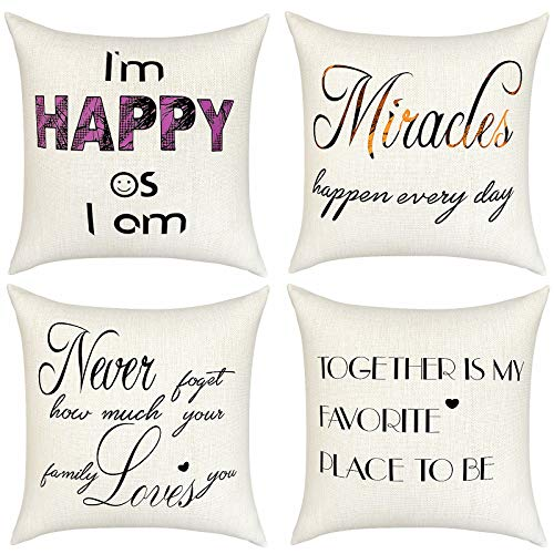SKCAZA Throw Pillow Covers and Cases Set Thanksgiving Cushion Decorative Cases Pillowcases Holiday for Home Decor Sofa Bedroom Car 45 x 45 cm 18 x 18 Inches (4 Pack)