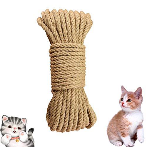 ETHEL Sisalseil,Natur Sisal Seil für Katzen,Natural Sisal Seil Kratzbaum Zubehör, für Katzen, Kratzseil, Gartenbündelung (15m)
