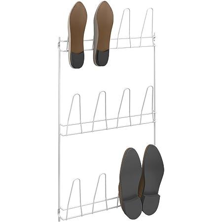 Metaltex 36611214080 Porte-Chaussures Mural 6 Paires-Penny, Fil plastifié, Blanc, 41 x 77 x 6 cm