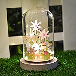 Valery Madelyn Easter Decoration Glass Dome with LED Light