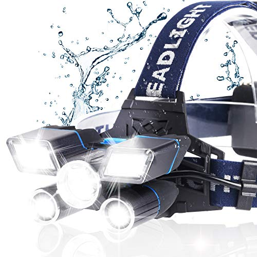 Headlamp, 13000LM Brightest 21 LED 9 Modes Head Lamp with Unique Power Indicator and USB, Waterproof work Headlight Best Headlamps for Hard Hat, Camping Hiking Hunting Outdoors