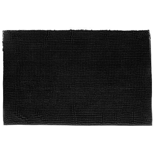 JJA Tapis de Bain Chenille - Noir - Accessoire Salle de Bain