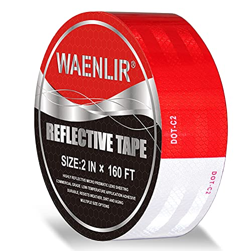 2 inch x 160Feet Reflective Safety Tape DOT-C2 Waterproof Red and White Adhesive conspicuity tape for trailer, outdoor, cars, trucks