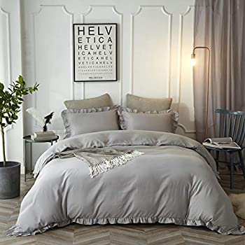 HYPREST Ruffled Duvet Cover Set Twin Kids Grey Solid Color Vintage Bedding Set Exquisite Flouncing Quilt Cover with Zipper Closure and Corner Ties for Boys Girls Oeko-TEX Certificated  No Comforter