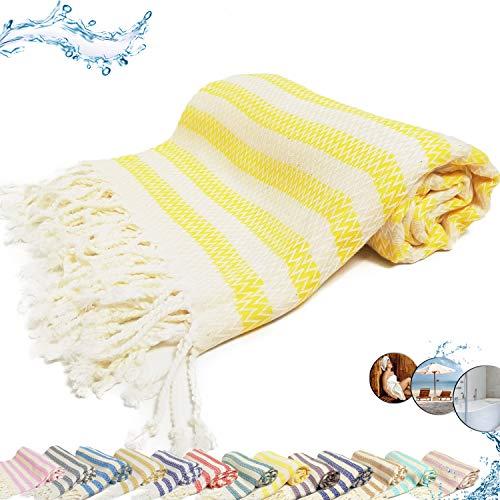 Toalla para sauna, hamam, playa, fouta, XXL, algodón natural, 100 x 190 cm, resistente al calor, antibacteriana, suave, ligera, absorbente y de secado rápido, color amarillo