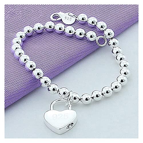YURG Silver Heart Lock 6mm Beads Cadena Pulseras Joyería Mujeres Top Calidad Amantes Pulseras