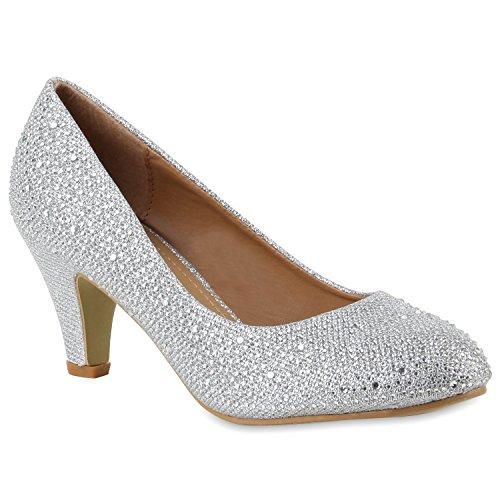 Klassische Damen Pumps Strass Glitzer Party Metallic Stilettos Absatz Abend Lack Schuhe 109197 Silber 36 Flandell