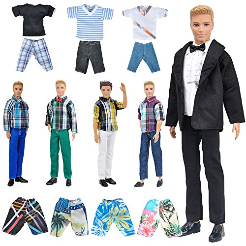 E-TING Lot 10 Items = 5 Sets Fashion Casual Wear Clothes/Outfit with 5 Pair Shoes for boy Doll Random Style (Casual Wear Clothes + Black Suit + Swimwear)