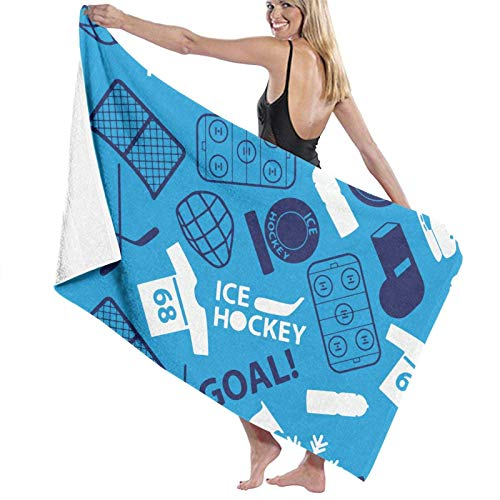 Toalla de playa azul con icono de hockey sobre hielo para viajes, baño, piscina, natación, yoga, gimnasio, deporte, 80 x 130 cm