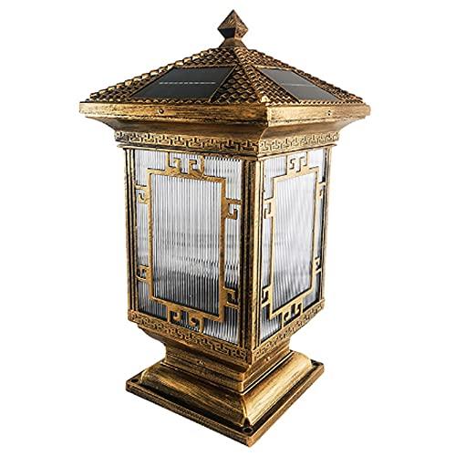 Luz solar impermeable para paisajes Lámpara de pilar de fundición a presión de aluminio moderno Lámpara de columna de iluminación de estigma de puerta principal para exteriores Faros de columna de ilu