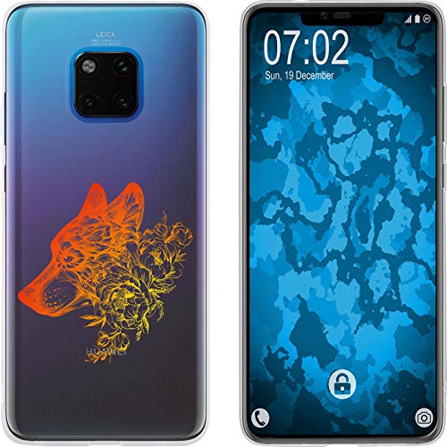 Preisvergleich Produktbild PhoneNatic Case kompatibel mit Huawei Mate 20 Pro Silikon-Hülle Floral Wolf M3-2
