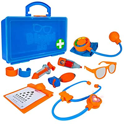 Blippi Doctor Playset - Stethoscope, Glasses, Blood Pressure Arm Band, Toy Syringe, Thermometer, Doctor's Bag, Bandages, Reflex Hammer Shoe, and Clipboard with 5 Activity Sheets - Amazon Exclusive by Jazwares, LLC