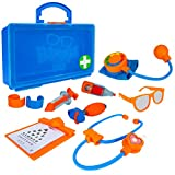 Blippi Doctor Playset - Stethoscope, Glasses, Blood Pressure Arm Band, Toy Syringe, Thermometer, Doctor's Bag, Bandages, Reflex Hammer Shoe, and Clipboard with 5 Activity Sheets - Amazon Exclusive