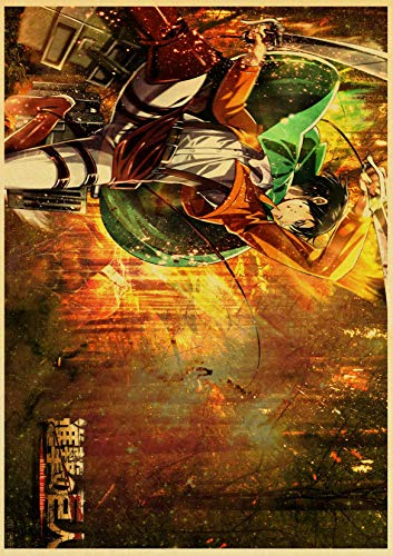 neivy Vintage japanische Anime Attack auf Titan Retro Poster Kraftpapier Hochwertige Home Room Art Print Wandaufkleber (Quadrat 40x50cm)
