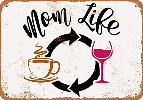 TTMMBB - Cartel de metal retro con texto en inglés 'Mom Life Wine Repeat es adecuado para café, restaurante, sala de billar, hotel, club, decoración de pared, 30,5 x 20,3 cm