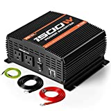 POTEK 1500W Power Inverter Dual AC Outlets DC 12V to 110VAC Car Inverter with Bluetooth