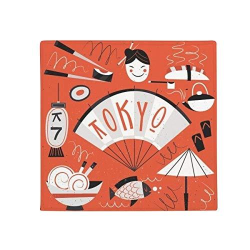 DIYthinker Sushi Geisha Japón Tokio japonés Antideslizante Alfombra Pet Cuadrado casa Cocina Puerta 80cm Regalo