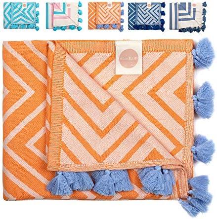 Nova Blue Turkish Beach Towels Orange Zigzag Beach Towel Made from 100 Turkish Cotton Extra product image