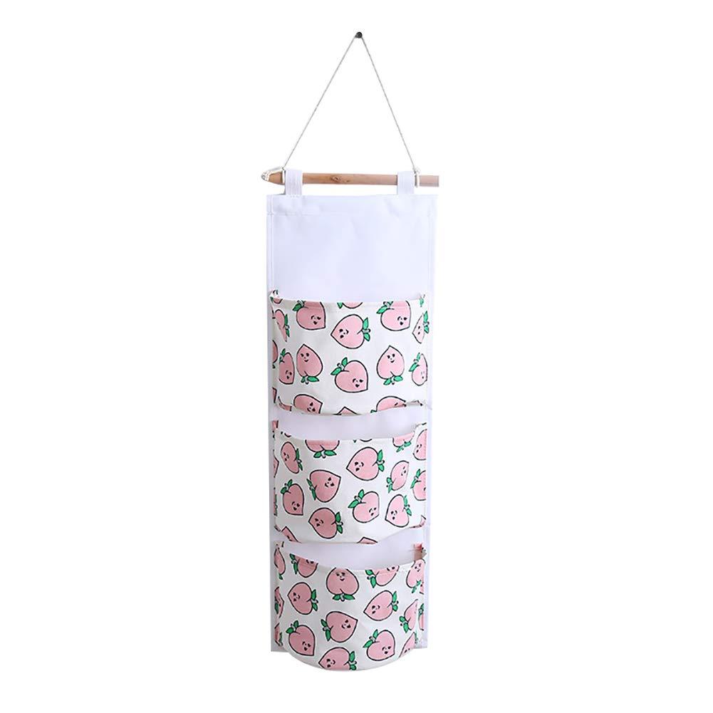 Rosa Haodou H/ängender Organizer mit 3 Taschen Pfirsich-Muster H/ängeorganizer H/ängeaufbewahrung H/ängende Aufbewahrungstasche f/ür Kinderzimmer Schlafzimmer T/ür 60.5 20.5cm