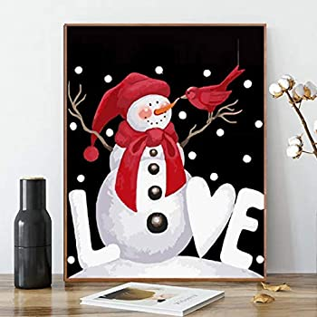 ACENGXI Christmas Paint by Numbers Christmas Paint by Numbers Merry Christmas Santa Claus Paint by Numbers Santa Claus Acrylic Painting Home Decor Snowman Paint by Numbers for Adults Kids 16x20In