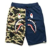 Bape Athletic Pants Shark Pattern Camo Bape Shorts Men Bape Sports Shorts (Camo Blue, 2XL)