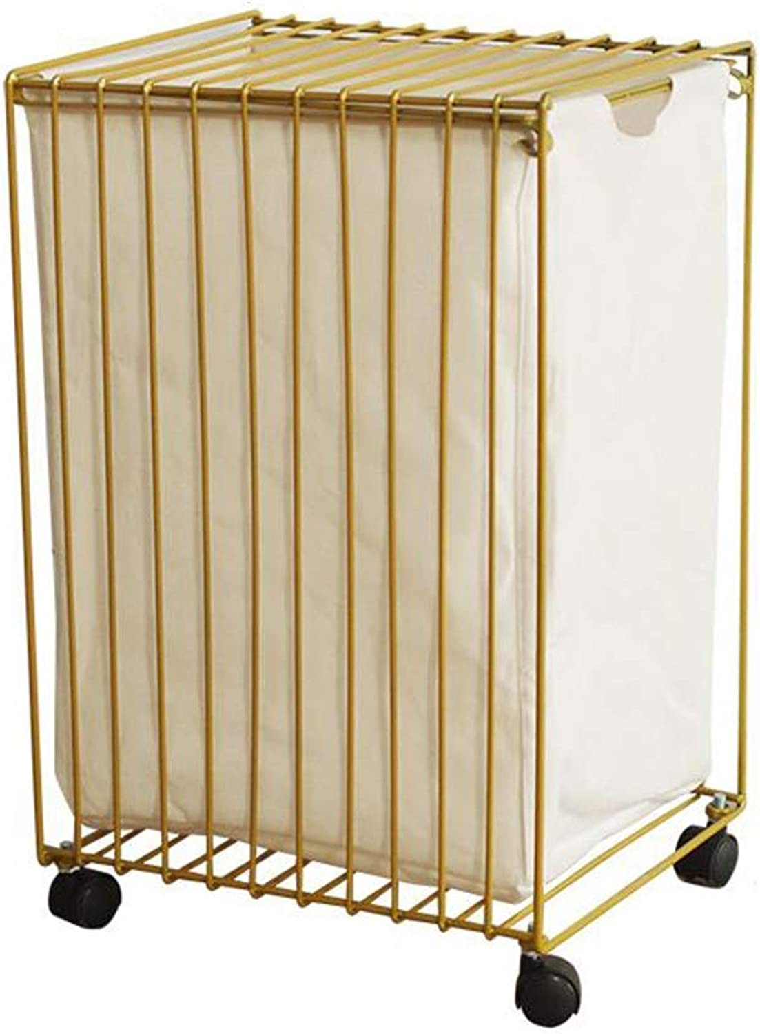 ZDNALS Wrought Iron Hamper Wheeled Laundry Basket Storage Basket Storage Basket Storage Basket (color   gold)