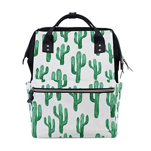 Precioso verde Acuarela Oasis Cactus Bolsas de pañales de gran capacidad Mamá Mochila Múltiples funciones Bolso de lactancia Bolso de mano para niños Cuidado del bebé Viajes Mujeres diarias