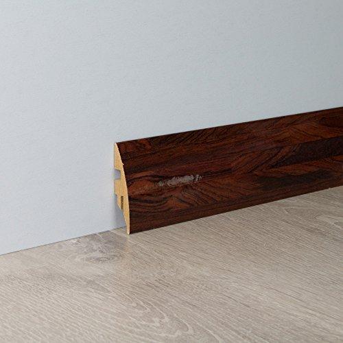 Sockelleiste Fußbodenleiste Rundprofil aus MDF in Rio Palisander Superglanz 2600 x 16 x 58 mm
