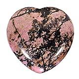 Morella Portafortuna a forma di cuore gemma pietre preziose Rodonite 3 cm in un sacchetto di velluto