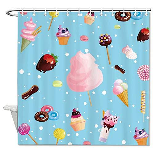 Free Brand Yummy Ice Cream Donuts Muffins Cupcakes Duschvorhänge, Duschvorhänge Badezimmer wasserdichter Polyester-Stoff Badewannenvorhang mit 12 Haken, 183 x 183 cm Badezimmer Vorhang Liner