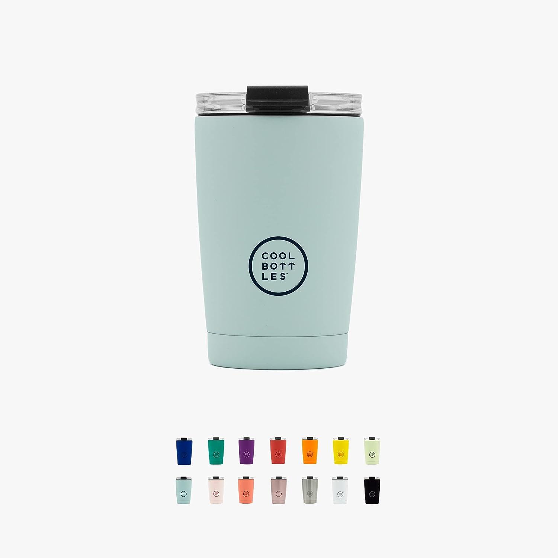 Cool Bottles - Vaso Térmico de Acero Inoxidable 330 ml - Pastel Sky - Tapa Hermética - Vaso para Café - Bebidas Frías 16 Horas y Calientes 8 Horas - Libre de BPA