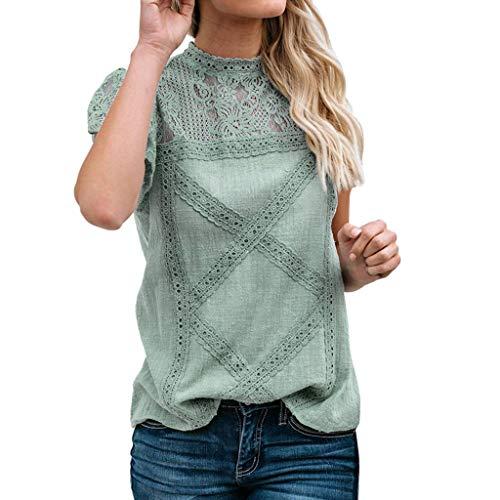 Camisetas Mujer SHOBDW Dia de la Mujer Verano Patchwork De Encaje Casual Ahuecar Volantes Manga Corta Suéter De Cuello De Tortuga Linda Blusa Floral Camiseta Blanca para Mujer (4XL, Verde)