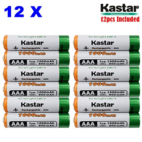 Kastar AAA 12-Pack Ni-MH 1000mAh Super High-Capacity Rechargeable Battery Pre-Charged for Panasonic HHR-4DPA HHR-55AAABU HHR-65AAABU, HHR-75AAA/BU, BK40AAABU, Garden Light, Path Light, Remotes