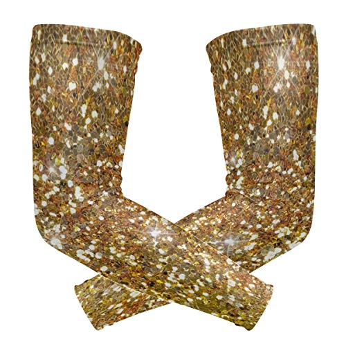 ONELUCA 1 Pair Sparkle Glitter Gold Background Sports Compression Arm Sleeves UV Protection Cooling Sleeves for Youth Men Women Football Baseball Basketball Outdoors