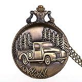 Reloj De Bolsillo Para Hombre,Vintage Bronce Camión Forestal Patrón Tallado...