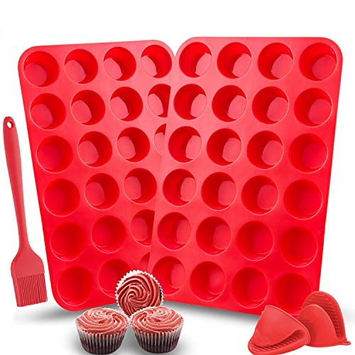 Silicone Muffin Trays 24 Cup Moulds Mold Pan Large for Baking Cases 2 Pack with BBQ Brush and 2 Pcs Mini Pot Holder Non Stick for Home (2 Pack 24 Cups+Brush+ 2 Pcs Mini Holder, Red)