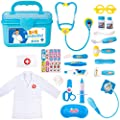 Durable Doctor Kit for Kids, 23 Pieces Pretend Play Educational Doctor Toys, Dentist Medical Kit with Stethoscope Doctor Role Play Costume, Doctor Set Toys for Toddler Boys Girls 3 4 5 6 7 8 Years Old
