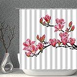 NJMRZX Duschvorhang, rosa Pfirsichblüte, Frühlingsblumen, Naturdekoration, Stoff, Polyester, Badezimmer-Gardinen mit Haken, 203 x 178 cm