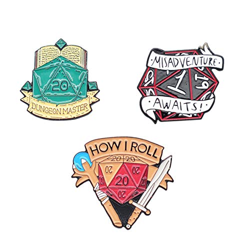 CZYY D&D Hard Enamel Pins Set of 3 Styles Fantasy RPG Game Badge D20 Dice Brooches for TTRPG Lovers and Dungeon Master (Pack B)