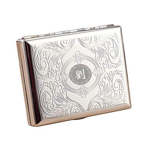 LKK-KK Caja del Cigarrillo 20 Palos, Caja de Cigarrillo de Acero Inoxidable Proceso de Ataque químico a Prueba de Humedad Anti-presión, cálido y rollizo (Color: Plata, Tamaño: 9.5 * 7.9 * 1.8cm)