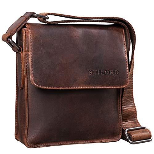 STILORD 'Nate' Herrentasche Leder klein Umhängetasche Schultertasche Männer Handtasche Messenger Bag Vintage echtes Leder, Farbe:Zamora - braun