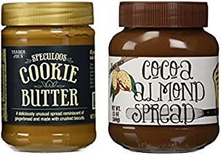 Trader Joe's Speculoos Cookie Butter 14.1 Oz & Trader Joe's Cocoa Almond Spread 13 Oz Bundle