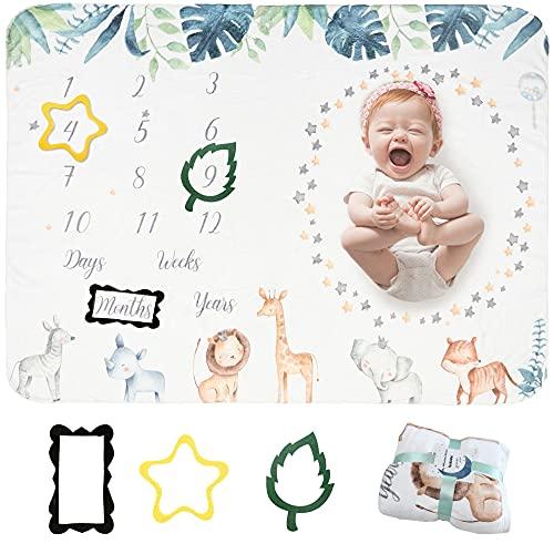 Taobeibei Baby Monthly Milestone - Manta para bebé (130 x 100 cm), diseño de animales