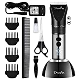 Domipet Dog Grooming Clippers Cordless Low Noise Dog Clipper Professional Quiet 360°Rechargeable Shaving Cat Hair Trimmer Kit with 4 Comb